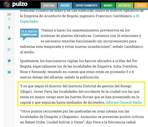 Pulzo Colombia gazapo